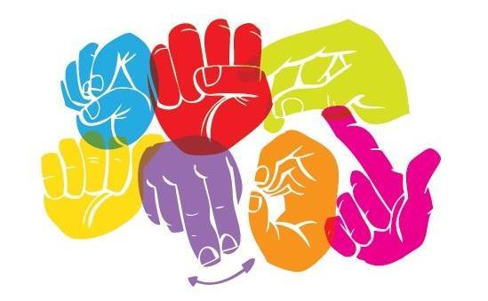 manos de colores que signan